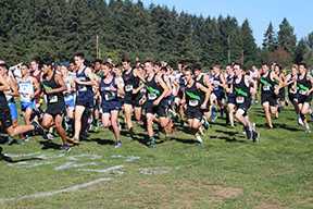 Boys race off the starting line at one of their many cross country meets at Lower Woodland BBHS parent