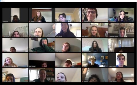 While discussing the complexity of the characters  in Dostoevsky's Crime and Punishment, the class stops working to pose for this screenshot of Mr. Grasseschi's First Period AP English Literature and Composition class.