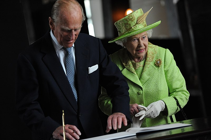 Her+Majesty+the+Queen+and+His+Royal+Highness+Prince+Philip+visit+to+Titanic+Belfast+on+the+historic+day+she+shook+hands+with+Martin+McGuinness+.