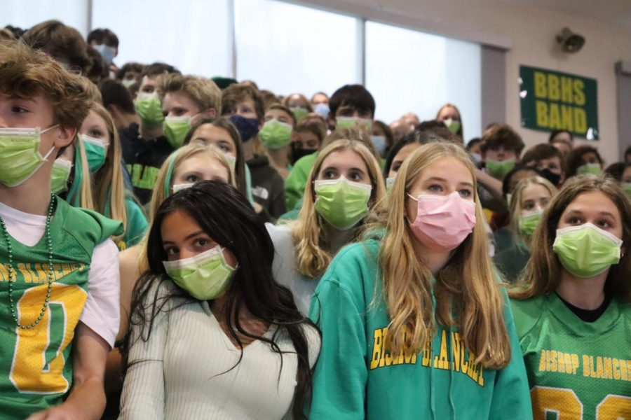 Freshman Sofi Selland in the Freshman section during Homecoming Assembly